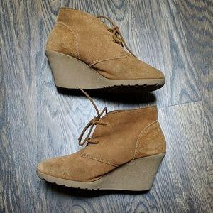 Tan/camel wedge booties